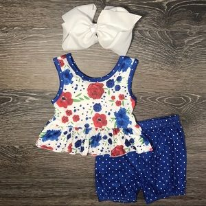 Baby girls royal blue shorts & floral tank outfit